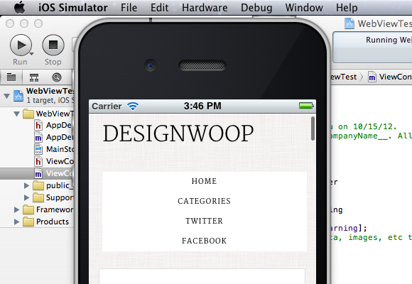 Building app run simulator iPhone UIWebView tutorial