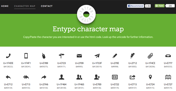 css3 entypo buttons character map icons
