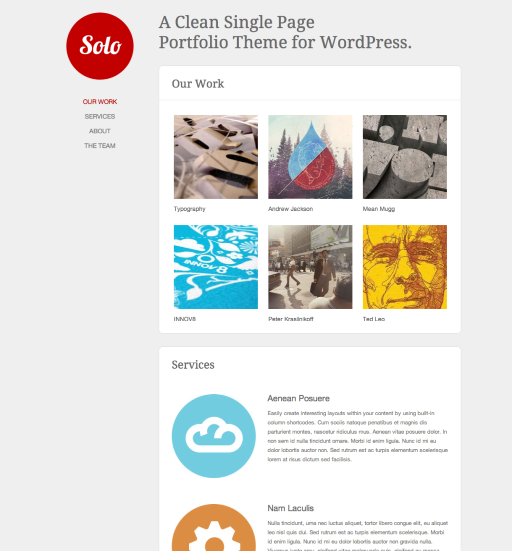 Single Page WordPress Themes