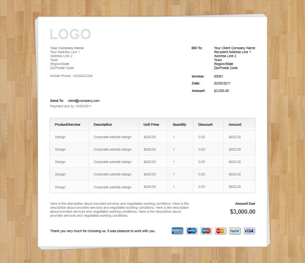 Html Invoice Template Free Download hardhostinfo – Indesign Invoice Template