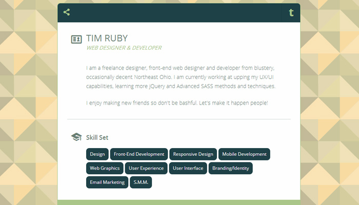 open source awesome vcard freebie html5 css3