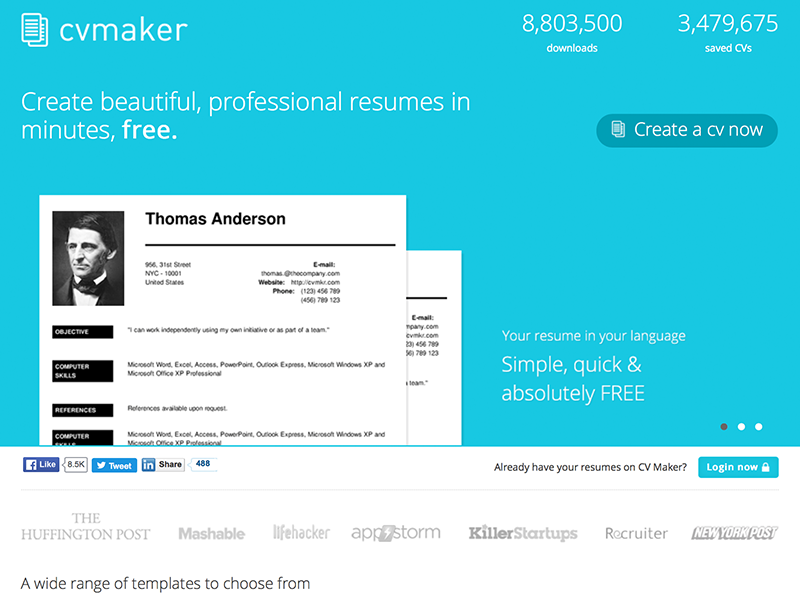 Fifteen Free Websites to Create An Inspiring Resume